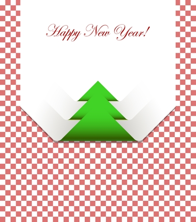 picnic cloth: Red checkered picnic tablecloth with christmas tree