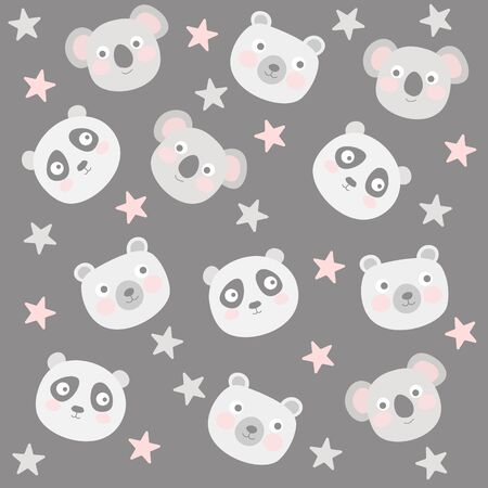 Cute animal pattern with koala, panda and polar bear Stock Illustratie