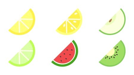 Fruits icon pack with apple, orange, lemon, kiwi, lime, watermelon. Stock Illustratie