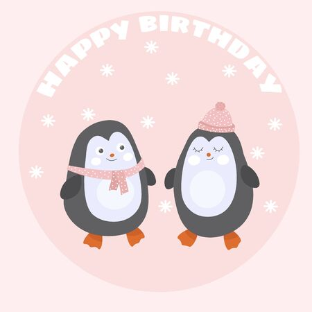 Cute card with penguins in love