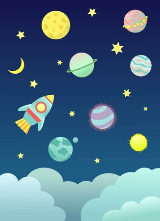 Space illustration with planets, rocket, sun and moon Stock Illustratie