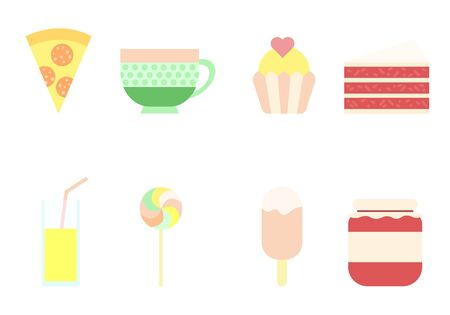 A set of sweets with pizza illustration