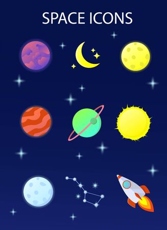 A set of colorful images of planets and other space objects. Vector illustration. Stock Illustratie
