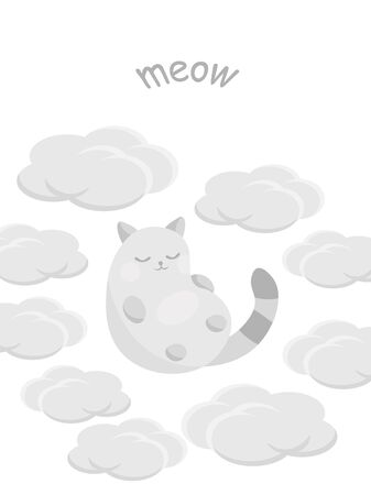 Cute card with happy cat on clouds. Vector illustration.