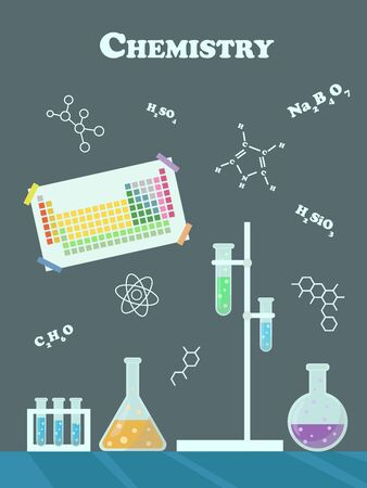 Poster to illustrate the chemistry lesson. Vector illustration.