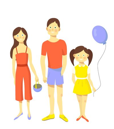 Happy family. Father, mother and daughter together. Vector illustration.