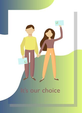 Poster with people voting in the elections. Vector illustration.