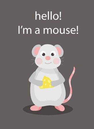 Cute card with mouse that eats cheese. Vector illustration.