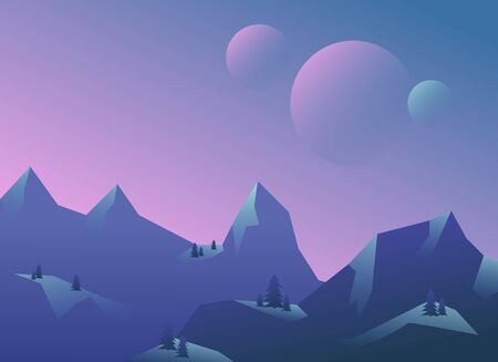 Panoramic view of the mountain landscape. Vector illustration. Ilustrace