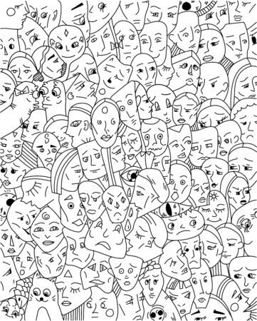 Background with strange faces. Doodle art. Vector illustration. Stock Illustratie