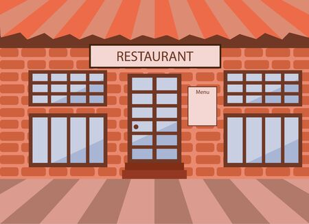 Front facade of the restaurant. Vector illustration.