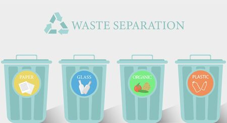 Reduce, reuse, recycle waste. Recycling trash. Trash bins with different types of waste for recycling: paper, organic, plastic, glass. Flat cartoon vector illustration icon. Stock Illustratie