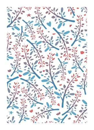 Pattern of leaves and twigs with a color transition. Vector illustration.