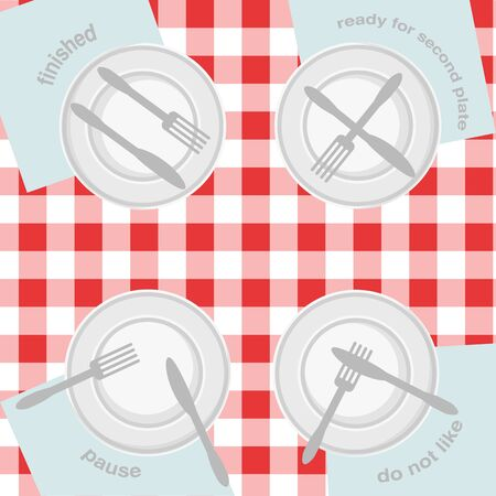 Signs of table etiquette, vector icons on classic tablecloth. Fork, knife and dish plate set. Vector illustration.