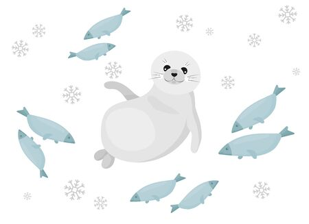 Cute illustration of the baikal seal (nerpa), which is chill out. Vector illustration. Stock Illustratie
