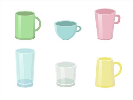 Set of stylish colorful cups isolated on the white backgorund. Vector illustration.