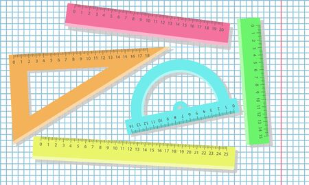 Set of plastic colorful ruler instrument and school equipment. Vector illustration.