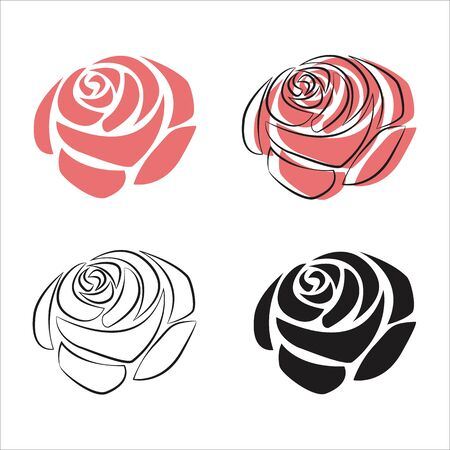 Rose flower simple vector illustration.