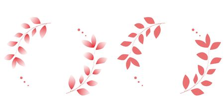 Red wreath of leaves. Vector illustration.
