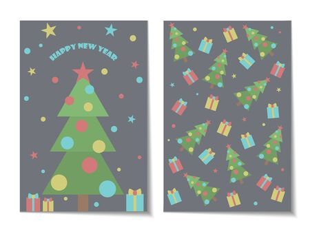 Cute card with a Christmas tree and gifts. A pattern of gifts, Christmas trees and stars. And the balls! Vector illustration.