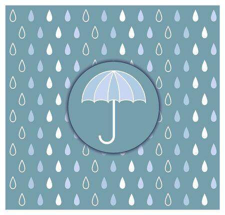 Laconic image of an umbrella in a circle with a background of raindrops of different colors. Vector illustration.