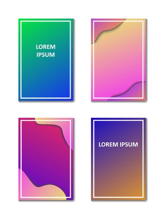 Postcards with a gradient background in the style of papercat. Vector illustration.