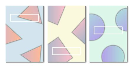 Minimalistic cover design. Geometric shapes and gradient. Soft colors. Vector illustration.