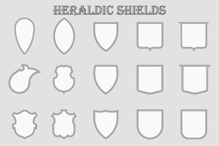 Set of 15 heraldic monochrome shields in a frame. Knightly medieval signs in the form of silhouette. Vector illustration. Stock Illustratie
