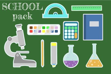 Set of stickers on the school theme with elements of school supplies and stationery. Vector illustration. Stock Illustratie