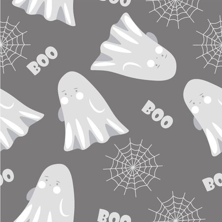 Halloween seamless pattern with cute ghost and spider web. Vector illustration. Stock Illustratie