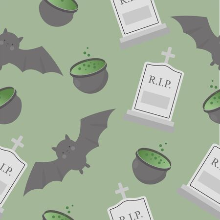 Halloween seamless pattern with bat, gravestone and cauldron with potion. Vector illustration.