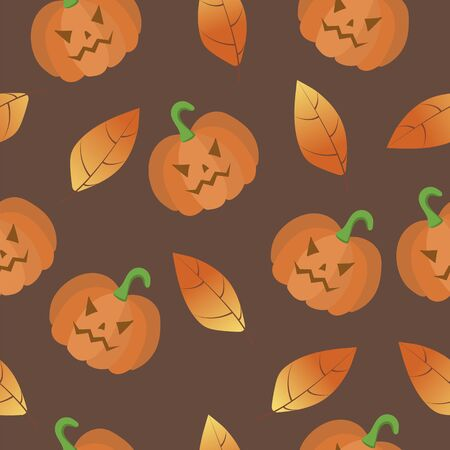 Halloween seamless pattern of pumpkins and autumn leaves. Vector illustration.