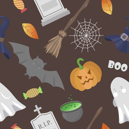 Halloween seamless pattern with dark background. Pumpkin, ghost, broom, cauldron, bat, gravestone and web. Vector illustration. Stock Illustratie