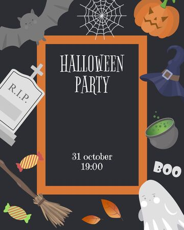 Template invitations to the celebration of Halloween. Halloween party. Vector illustration.