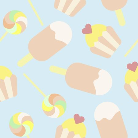 Cute seamless pattern in delicate colors with ice cream, cupcake and Lollipop. Vector illustration. Stock Illustratie
