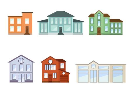 Houses exterior front view with roof. Vector illustration.