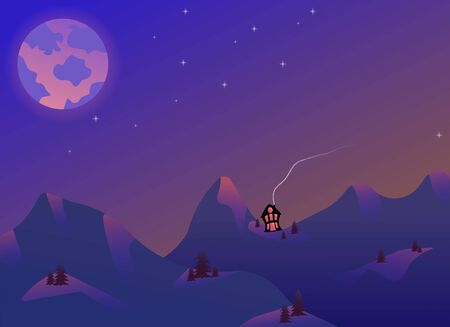 Panoramic view of the hilly landscape on a dark night. Starry sky and a spooky house. Vector illustration.