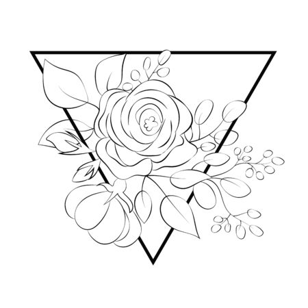 Rose flower in a triangle in the style of line art. Stock Illustratie