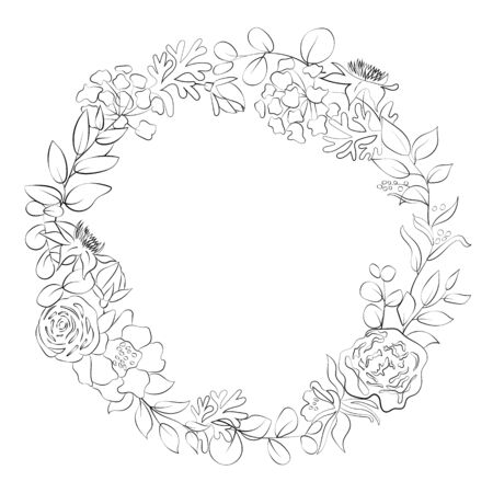 Floral contour wreath in the style of line art.