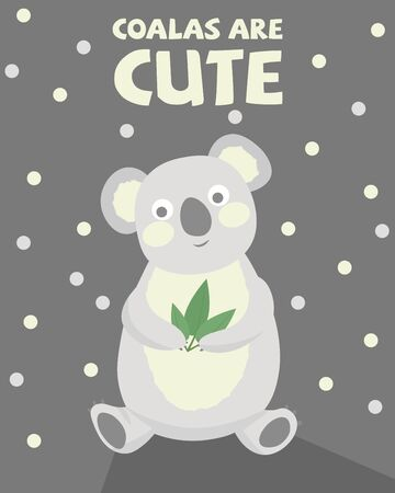 Cute greeting card with a Koala holding a eucalyptus leaf.