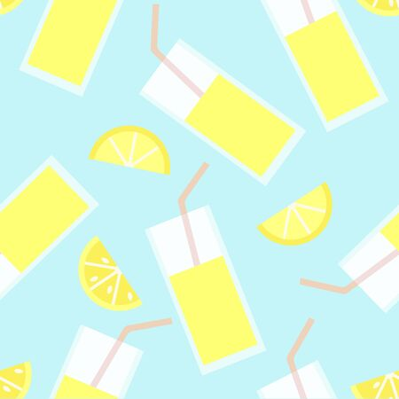 Fresh pattern with lemon slices and lemonade. Stock Illustratie