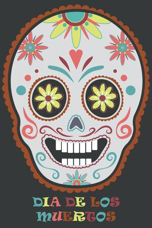 A painted  skull for the day of the dead in Mexico.