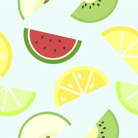 Juicy pattern with slices of fruits: watermelon, lime, lemon, apple and kiwi.
