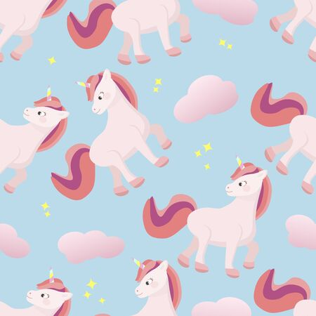 Cute pattern with unicorn and clouds.