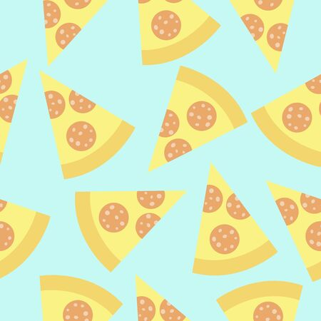 Cute pattern with slices of pizza on the blue background.