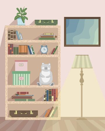 The interior of the room with a floor lamp, a bookshelf and a picture. Room flower, soft toy, boxes, books and suitcases are located on the shelves of the rack. Stock Illustratie