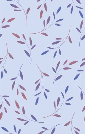 Seamless pattern of leaves on a branch Stock Illustratie
