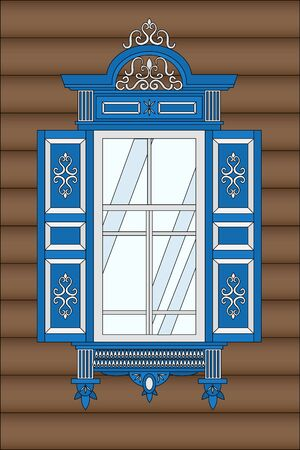 Blue wooden window with carvings in traditional Russian style. The window of the isba.