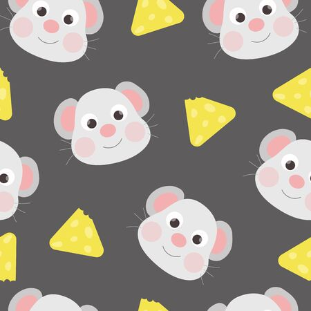 Cute seamless pattern with mouse and cheese.