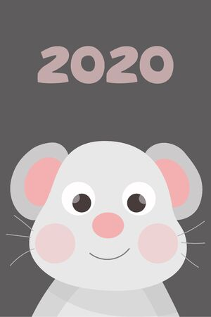 Cute Christmas card with mouse. New Year. Year of the mouse. Stock Illustratie